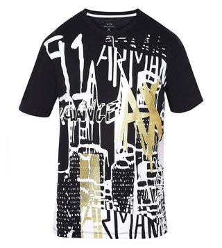 Armani Exchange Black Graphic Print T-Shirt