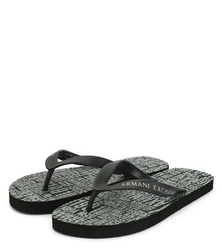 Armani Exchange Black Typographic Print Flip Flop