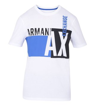 Armani Exchange White Signature Printed Regular Fit T-Shirt