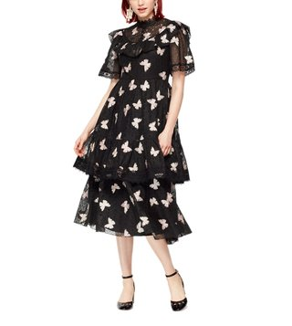 Kate Spade Black Butterfly Embroidered Dress