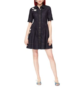 Kate Spade Indigo Embroidered Denim Shirt Dress