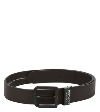 Armani Exchange Brown Logo Buckle Waist Belt