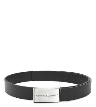 Armani Exchange Black Textured Plaque Waist Belt