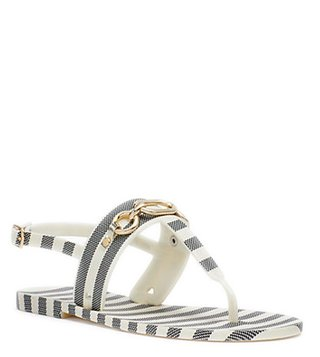 Kate Spade Blue & Cream Polly T-Strap Sandals
