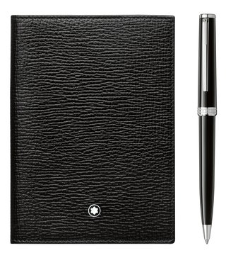 Montblanc Set with Meisterstück Selection Passport Holder and PIX Black Ballpoint Pen
