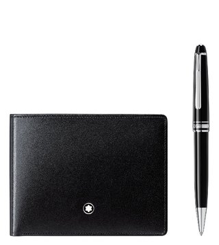 Montblanc Set with Meisterstück Wallet 6CC and Meisterstück Platinum Classique Ballpoint Pen