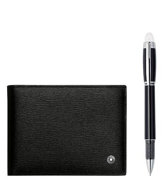 Montblanc Set with Westside Wallet 6 CC Black and StarWalker Platinum Fineliner