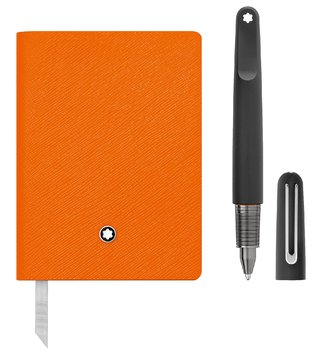 Montblanc Set with Lucky Orange lined Notebook 145 and Montblanc M Ultra Black Ballpoint Pen