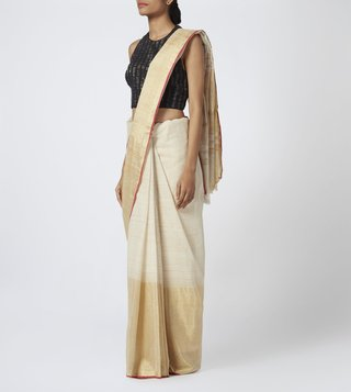 TAANBAAN WHITE COTTON BODY & GOLD/SILVER BORDER SAREE