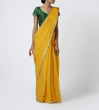 TAANBAAN YELLOW COTTON TEXTURED JAMDANI SAREE