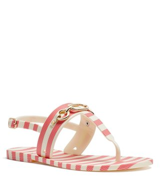 Kate Spade Red & Cream Polly T-Strap Sandals