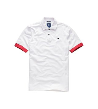 G-Star RAW White Polo Collar T-Shirt