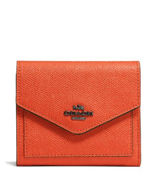 Coach Dark Mandarin Small Leather Wallet