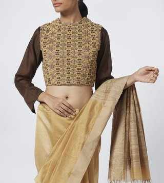 Vaishali S Brown Boondi Embroidered Blouse