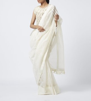 Vaishali S White Striped Chanderi Saree