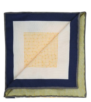 Hugo Boss Yellow Printed Pocket Square