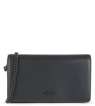 Coach Black Foldover Chain Cross Body Bag