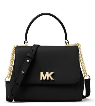 MICHAEL Michael Kors Black Mott Small Leather Satchel