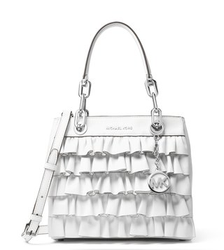 MICHAEL Michael Kors Optic White Ruffled Cynthia Satchel