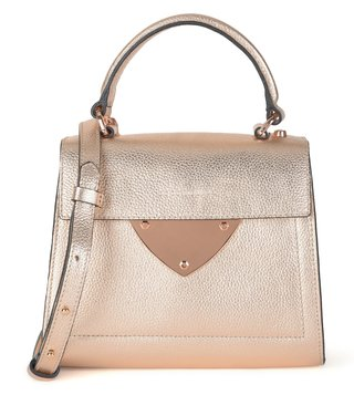 Coccinelle Rose Gold B14 Mini Leather Satchel