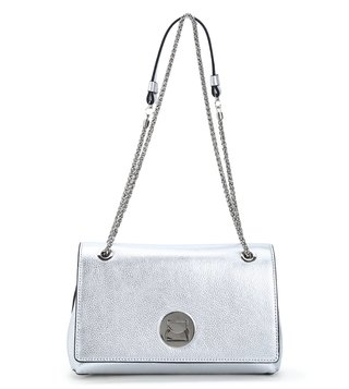 Coccinelle Silver Liya Medium Leather Shoulder Bag