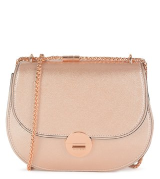 Coccinelle Rose Gold Violane Saffiano Cross Body Bag