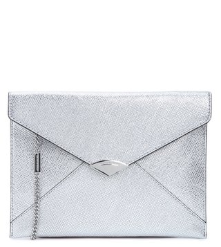 MICHAEL Michael Kors Silver Mott Medium Leather Clutch