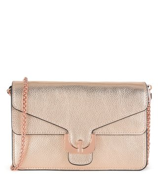 Coccinelle Rose Gold Ambrine Leather Clutch