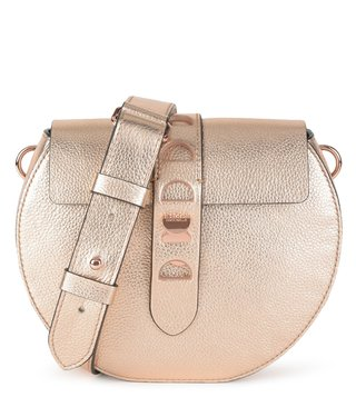 Coccinelle Rose Gold Textured Carousel Cross Body Bag