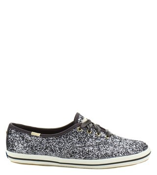 Kate Spade Pewter Canvas Sneakers