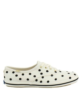 Kate Spade White & Black Canvas Sneakers