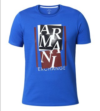 Armani Exchange Lapis Blue Abstract Slim Fit T-Shirt