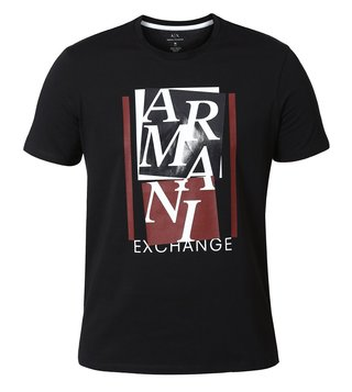 Armani Exchange Black Abstract Slim Fit T-Shirt