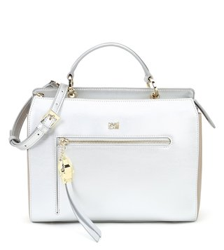 Cavalli Class Silver & Taupe Brigitte Small Leather Satchel