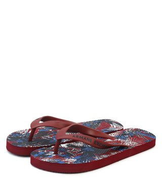Armani Exchange Exotic Rhubarb Allover Printed Flip Flops