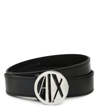 Armani Exchange Nero Metal Logo Waist Belt