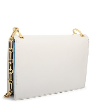 Cavalli Class White Diane Medium Leather Cross Body Bag