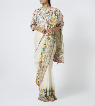 Pero White Floral Print Cotton Silk Saree