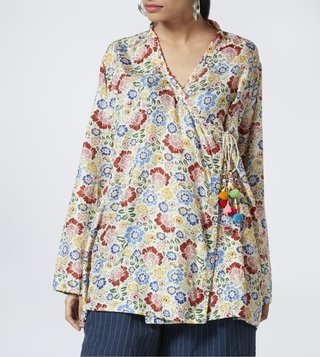 Pero White Floral Print Top