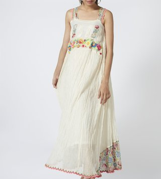 Pero White Embroidered Maxi Dress