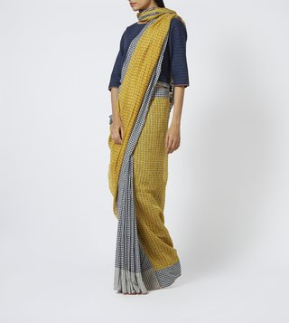 Pero Yellow Printed Cotton Silk Saree