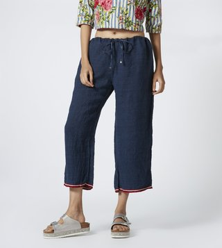 Pero Blue Textured Drawstring Trousers