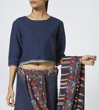 Pero Blue Striped Crop Top