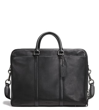 Coach Black Metropolitan Double Zip Leather Laptop Bag
