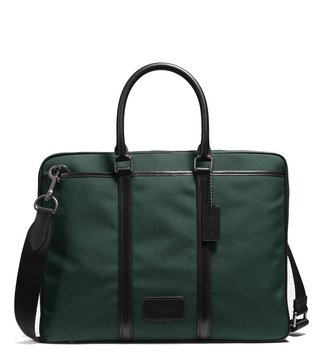 Coach Racing Green & Black Metropolitan Leather Laptop Bag