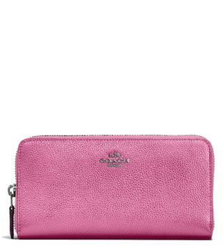 Coach Metallic Blush Accordion Zip Wallet