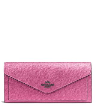 Coach Metallic Blush Textured Wallet