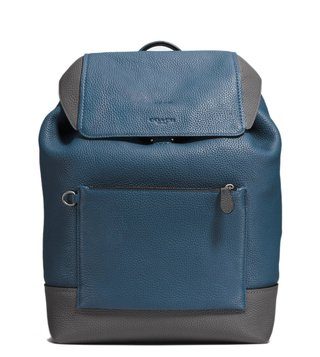 Coach Dark Denim & Oxblood Manhattan Backpack
