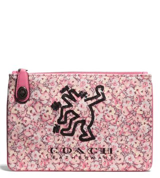 Coach Bright Pink X Keith 26 Haring Turnlock Pouch