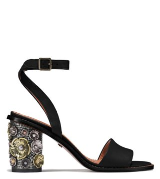 825546ef958 Coach Black Tea Rose Mid Heel Sandals ...